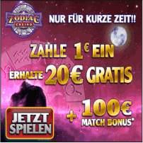 Zodiac Casino Bonus - 1 € einzahlen mit 20 € spielen