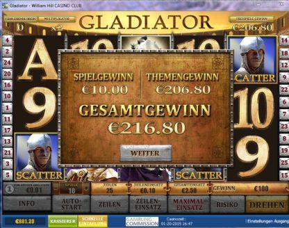 Gewinn Gladiator Slot