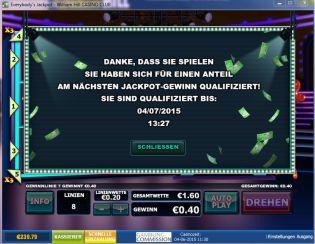 everybodys Jackpot Slot qualifiziert