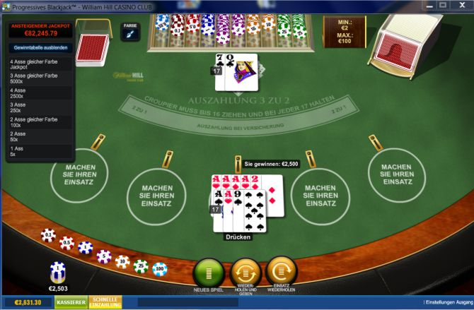 gewinn progressives Blackjack